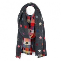 Reversible Grey Jacquard Star Scarf by Peace of Mind